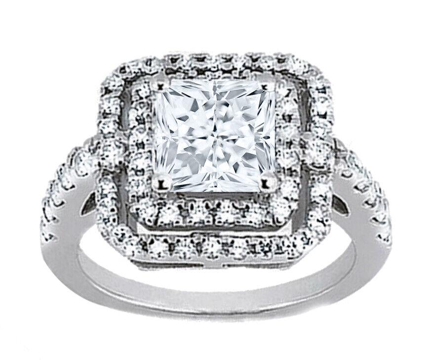 GIA Certified Diamond Engagement Ring 1.90 CTW Princess Cut 18k White Gold