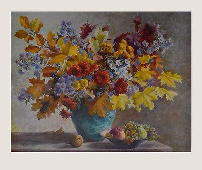 Carl Berndt Kunstdruck Poster Bild hochwertiger Lichtdruck Herbststrauss 75x91cm