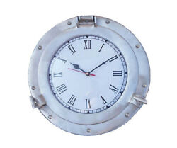 Ships Cabin Porthole Clock Brushed Nickel Finish 12 Aluminum Hanging Wall Decor