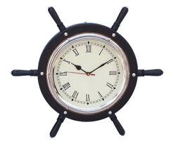 Ships Steering Wheel Black 15 w/ Chrome Clock Wooden Nautical Pirate Wall Decor