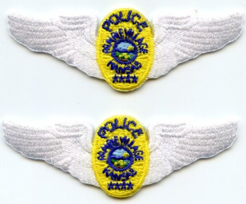 PRAIRIE VILLAGE KANSAS KS TRAFFIC WINGS 2 police patches VERY SMALL POLICE PATCH