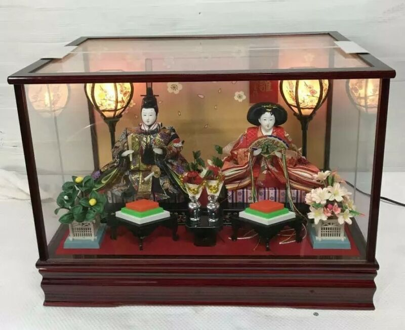 Vintage Japanese Hina doll in Kimono lot Royal Wedding Style in Glass Case