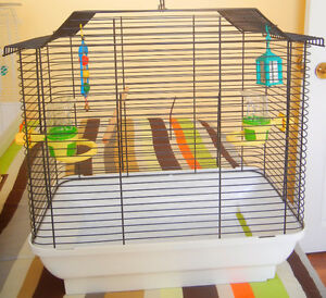 """Bird cage L19"""" x W11"""" x H19"""" with accessories $30.00"""