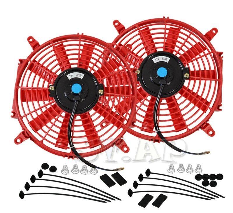 "2X Jdm 12/"" Inch Radiator Fan Thin Electric Cooling 12V 1500Cf Red+Mounting Kit"