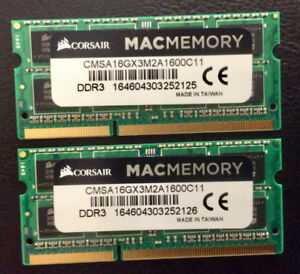 Corsair Apple Memory 16GB (2x8GB) 1600MHz DDR3L CL9 SODIMMs