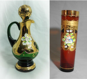 BOHEMIAN ENAMELED AND GILDED GLASS CARAFE