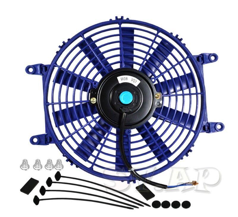 "JDM 10/"" INCH RADIATOR FAN THIN ELECTRIC COOLING 12V 1500CF BLUE+MOUNTING KIT"