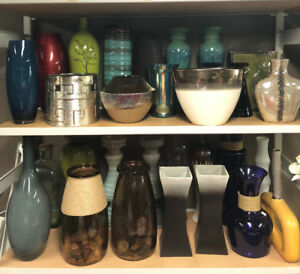 Rental Accessories - Decor - glass vases, bamboo, candle holders