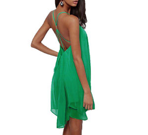 Sexy! Women Chiffon Backless Strapless Back Clubwear Party Evening Mini Dress