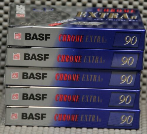 Lot of 5 (five) NOS BASF Chrome Extra II 90 minute type II Cassettes Germany