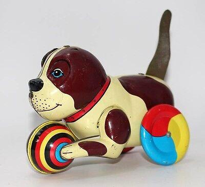 älterer Blechhund, Hund aus Blech, Made in China, Mechanische Funktion  #A649