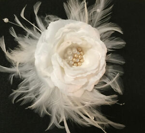 Exclusive Bridal Flower and Feather Headpeice