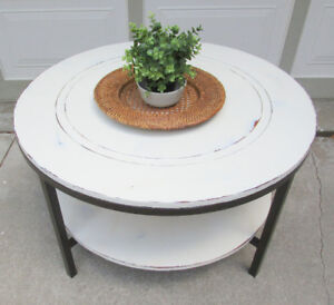 WOOD/METAL SHABBY CHIC ROUND COFFEE TABLE