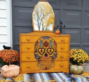 Vintage day of the dead dresser