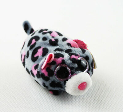 "4"" TY Teeny Tys Animal Miles Leopard Glitter Eyes With Tag Plush Stuffed Toys"