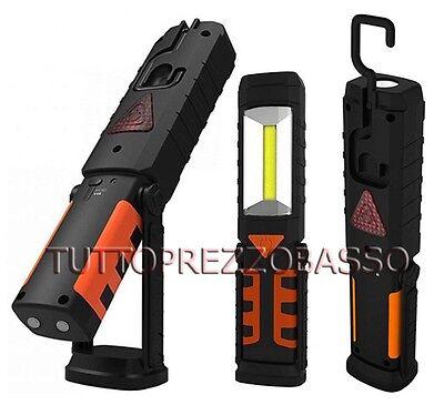 Torcia cob 1 led luce bianca batteria ricaricabile lampada da lavoro x officina