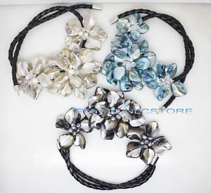 3strand mother of pearl shell weave flower pendant necklace 18
