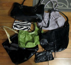 MOVING: Lot of 5 bags, 2 clutches
