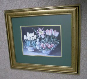 Joyce Galley Framed Floral Print Behind Glass (Signed)