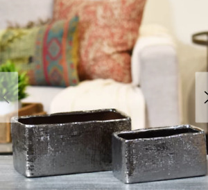 Ceramic Planter Box Pot Hammered Silver Electroplated