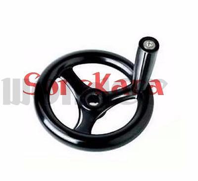 3 Spoke Hand Wheel 6.2 Diameter Black With Revolving Handle For Milling Machine