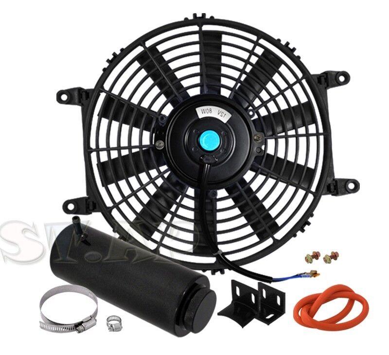 "Blue 9/"" Inch Slim Fan Radiator Push Pull Thin Electric Cooling 12V Jdm Scion"