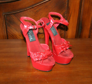 Pleasers Red High Heel Shoes - Size 5
