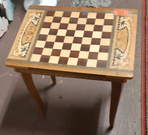Italian musical chest and checker table.