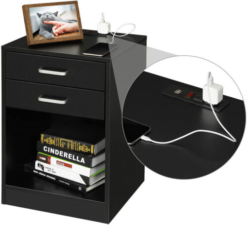 Black/white Nightstand Bedside Bedroom End Table with USB Port 2 Drawers Storage