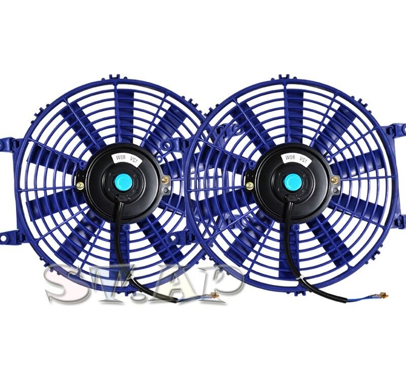 "Jdm 9/"" Inch Slim Fan Radiator Push Pull Thin Electric Cooling 12V 1500Cf Blue"