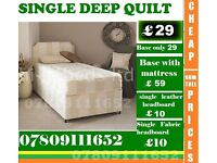 Single, Double and King Size Deep Quilted Bed Frame with Mattress Range