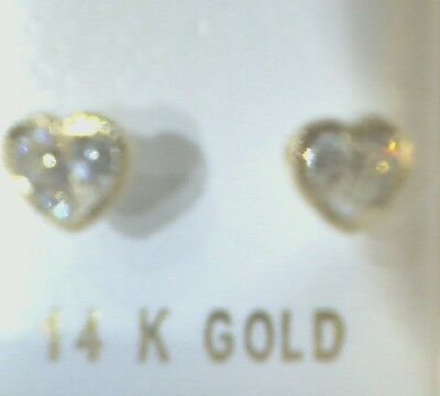 14K Yellow Gold 3mm Stone Finish Heart Bezel White CZ Screw Back Stud Earrings