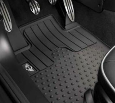2 Pc OEM Mini Cooper Rubber Floor Mat Set Front Mini Wings Logo 51472243906