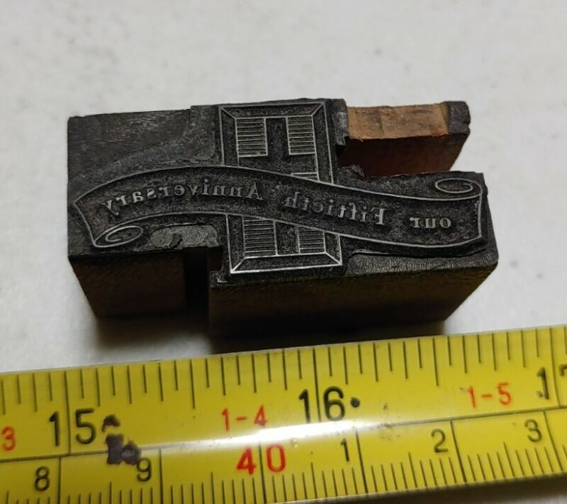 Vintage Letterpress Printing Block Our Fiftieth Anniversary Cross Religious