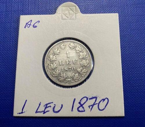 Romania  silver coin 1 leu 1870 King Carol I ,very rare.