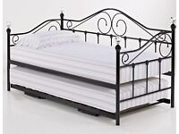 Crystal, metal, sofa bed, with under trundle. X 2 single, mattress.