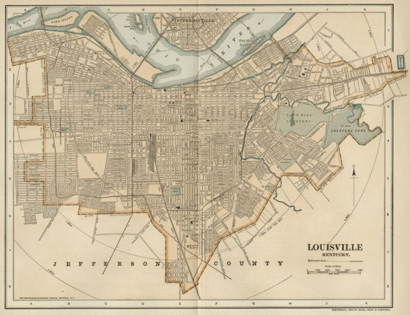 Louisville KY Street Map / Plan: Authentic 1903 (Dated) Landmarks, Stations, +
