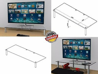 62 -100 cm TV-Aufsatz nach Maß TVA -125  LCD-LED Monitorerhöhung, Alu -Klarglas