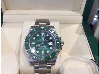 rolex hulk submariner watches brand new sapphire glass ceramic bezal full rolex swiss wave boxset