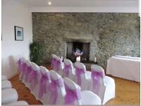 Organza majestic purple wedding chair sashes