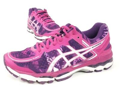 Asics Womens Gel-Kayano 22 Running Shoes Pink Purple T597N Low Top Lace Up 8