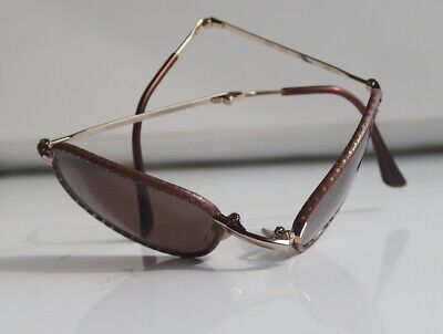 Giorgio Armani Vintage Folding Classic Sunglass Mesh Leather Rim 624 810 (Armani Folding Sunglasses)