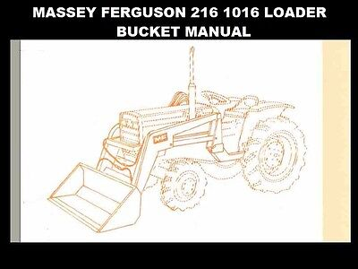 MASSEY FERGUSON MF 216 1016 LOADER PARTS MANUAL with MF216 Bucket Diagrams