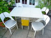 Vintage Mid Century Drop Leaf Remploy Formica Table with Cupboard and 4 Fantastic Chairs Retro