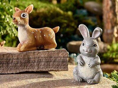 Miniature Fairy Garden Deer & Bunny Rabbit Glow in the Dark Set 2 Asst GI - Glow In The Dark Bunny