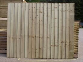 Vertical Close Board Flat Top Feather Edge Fence Panel Tanalised Pressure Treated Tanalised Green