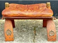 Vintage leather camel stool / footstool