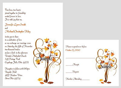 100 Personalized Custom Fall Autumn Tree Bridal Wedding Invitations Set