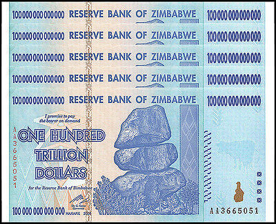 Zimbabwe 100 Trillion Dollars X 5 Pieces (PCS), AA/2008, P-91, UNC, 100 Trillion