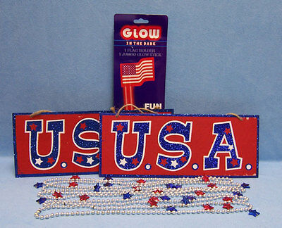 Hanging Glow Sticks (Glow Sticks In The Dark Flag Holder Hanging USA Sign Star Beaded Necklaces Lot)